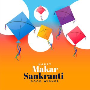 kite festival makar sankranti wishes background design